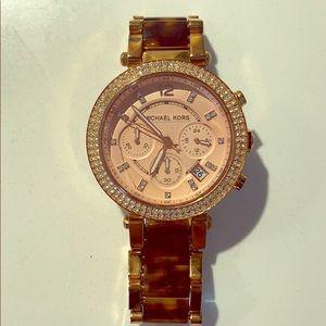 Michael Kors rose Gold and tortoiseshell watch